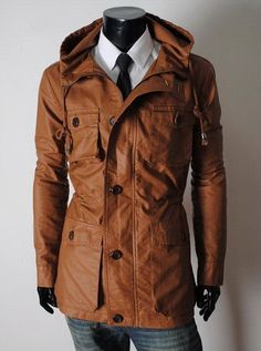 Handmade Brown Hooded Leather Jacket 34fa838001ff