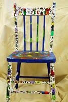 Artists Chairs - pto fundraiser ... how fun would something like this be for a class to create together then auction off! - youth group fund raiser