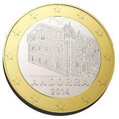 """ANDORRA 1 euro Al centro Casa de la Vall; in basso la scritta """"ANDORRA"""" e il millesimo di conio. Intorno 12 stelle a cinque punte rappresentanti l'Unione Europea. Autore: Jordi Puy."""