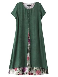 Women Short Sleeve O Neck Fake Two Pieces Floral Printed Vintage Dress Specification: Style: Vintage Collar: O-neck Color: Green Gray Pattern: Flower Pattern Season: Spring Summer Dress Length: Knee-length Sleeve Length: Short Sleeve Casual Summer Dresses, Trendy Dresses, Elegant Dresses, Beautiful Dresses, Short Sleeve Dresses, Dress Casual, Dress Summer, Summer Clothes, Robes Vintage