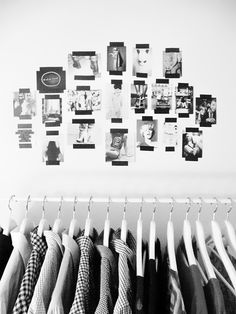 Black tape for photo collage on wall.  Cute for a dorm room