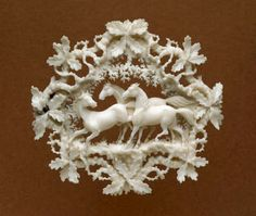 Brooch Of Pierced And Carved Ivory With Three Horses Inside A Border Of Oak Twigs, Made By Count von Erbach   c. 1830-1860