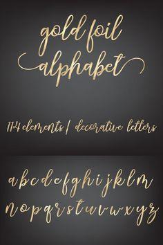 Gold Letters, Gold Foil, Chalkboard Quotes, Art Quotes, Alphabet, Clip Art, Lettering, Silver, Decor