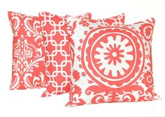 Coral Pillows Decorative Throw Pillow Covers by FestiveHomeDecor, $54.00