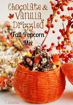 Chocolate & Vanilla Drizzled Fall Popcorn Mix - a delicious treat for fall parties, football watching and Thanksgiving hostesses! At littlemisscelebration.com