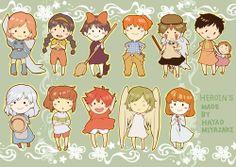 Ghibli characters chibi
