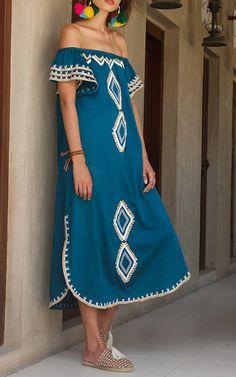 Nwella Embroidered Off The Shoulder Kaftan by Mochi | Moda Operandi