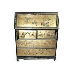 Oriental Furniture Chinese Gold Leaf Secretary Desk
