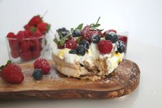 Pavlova with berries and passion fruit