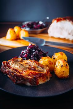 Crispy Roast Pork Belly With Red Cabbage