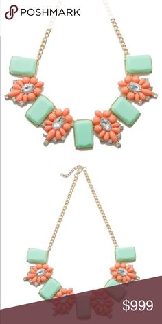 😍COMING SOON😍 Mint and Coral necklace 💎Coming Soon💎Gorgeous and unique! Marvelous mint and coral crystal statement necklace. This is a wardrobe must have! Jewelry Necklaces