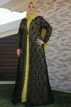 Saliha Oksit Sarısı Forever Dantel Tesettür Abiye Elbise