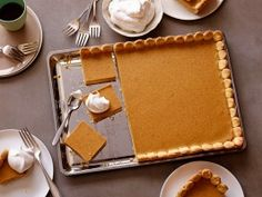 This giant #Pumpkin dessert in sheet-cake form serves 16. Extend the height of the baking sheet with aluminum foil for a deeper crust that holds the double recipe.