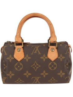 Brown leather mini tote from Louis Vuitton Vintage featuring the signature monogrammed design, two contrast top handles, a top zip fastening and a detachable shoulder strap. Please note that vintage items are not new and therefore might have minor imperfections.'