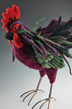 needle felted chicken amazing textile art figure model sculpture art bird rooster for easter