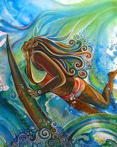 dd3afa8d44fad Duck dive art. Mural Wall Art, Hawaii Painting, Surfing Painting, Summer  Painting