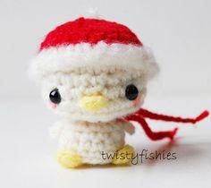 Kawaii White Christmas Bird Mini Amigurumi Plush by twistyfishies