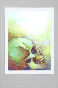 Blue Skull Colorful Art Print