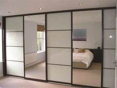 Swan Systems Sliding Wardrobe Doors Chocolate Wenge Oriental Design with White Glass and Silver Mirror Glass Wardrobe Doors, Wardrobe Door Designs, Mirror Closet Doors, Wardrobe Design Bedroom, Sliding Wardrobe Doors, Closet Bedroom, Home Bedroom, Bedroom Decor, Sliding Doors