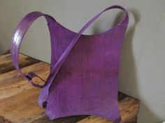 Leather handbag purse cross shoulder bag purple by africanbaskets
