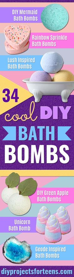 34 Homemade Bath Bomb Recipes Like Lush : Cool DIY Bath Bombs to Make At Home - Rose Milk Bath Bombs - Recipes and Tutorial for How To Make A Bath Bomb - Best Bathbomb Ideas - Fun DIY Projects for Women, Teens, and Girls Mermaid Bath Bombs, Unicorn Bath Bombs, Diy Crafts For Teen Girls, Crafts For Teens To Make, Art Projects For Teens, Diy Art Projects, Cool Diy, Fun Diy, Easy Diy