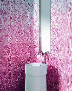 Contemporary Pink Bathroom Fixtures, Furniture & Tile by Bisazza.