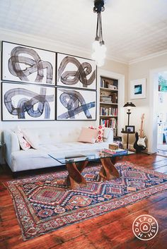 Warm and Welcoming in Williamsburg - We love this art quadrant framed over the couch. It's eye-catching in its simplicity. by Homepolish Brooklyn https://www.homepolish.com/mag/warm-and-welcoming-in-williamsburg