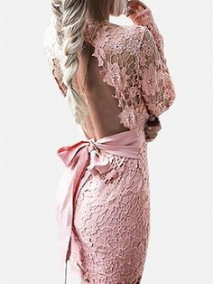 Shop Pink V-neck Sheer Lace Sleeve Backless Bodycon Mini Dress from choies.com .Free shipping Worldwide.$25.99
