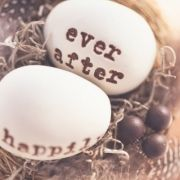 """""""Love Birds"""" eggs with 'happily' & 'Ever After' printed on them. Super Cute!"""
