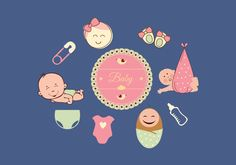 Creates baby vector set can be use in greeting, event, websites etc