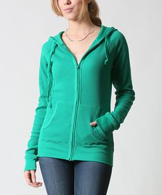 42POPS Peacock Thermal Zip-Up Hoodie | zulily -  $16.99 $45.00 size: size chart  M L Product Description:  This chilly-weather basic features two pockets to keep hands warm and store essentials. Thermal fabric delivers all-day comfort.      54% cotton / 44% polyester / 2% spandex     Hand wash     Imported