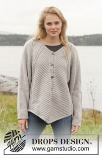 "Knitted DROPS jacket with textured pattern, wide sleeves and deep raglan in ""Lima"". Size: S - XXXL. ~ DROPS Design"