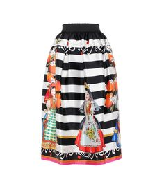 Dolce & Gabbana - Silk skirt - Coming from Dolce & Gabbana's summer collection for 2017, this skirt is a playful, colourful version of the classic striped black and white design. Crafted from silk, the midi style sits high on the waist and is decorated with images of fruit and dolls. Emulate the runway styling, wearing yours with a white-hued off-the-shoulder top. seen @ www.mytheresa.com