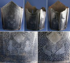Persian Qajar dynasty char-aina (chahar-aina, chahar a'ineh), 19th century, plate body armor worn over a zirah (shirt of mail) in Persia, India and Central Asia.  Acid etched with calligraphy and figures of animals and humans surrounded by arabesque designs. The two plates worn on the breast and back are considerably larger than those worn at the sides which had recesses for the arms. Chahar aina cuirasses were introduced in Iran in the 16th century.