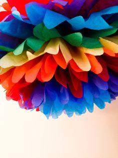Rainbow the pompom, Pombow!!!  https://www.etsy.com/listing/171636618/1-rainbow-tissue-paper-pom-poms