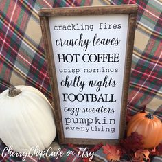 Excited to share this item from my shop: Fall Wood Sign Fall Wood Signs, Fall Signs, Fall Decor Signs, Fall Home Decor, Autumn Home, Seasonal Decor, Fall Decorations Diy, September Decorations, Decor Ideas