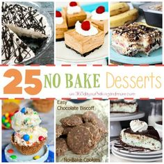 A great compilation of 25 desserts that are no bake! You don't need to turn that oven on to have great and delicious desserts!