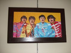 """Sgt. Pepper was a little tough to sculpt. I got this idea from the inside jacket of the album. After doing a 4 x 4 sculpted """" ABBEY ROAD """" album cover the front cover of this Classic Album is NEXT ! Beatles Art sells very well ! This is truly a ONE OF A KIND piece because you need some serious patience to complete it ! Size: 12 H x 16 W ~ Price: $675.00 A MUST SEE !"""