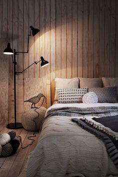 Деревянный дом: интерьер внутри и 60+ вдохновляющих реализаций дизайна http://happymodern.ru/derevyannyj-dom-interer-vnutri-60-foto/ Обшивка спальни светлыми деревянными панелями