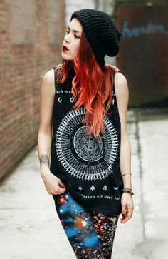 Luanna Perez.awesome print match! Beanie.graphic tee.galaxy print leggings.red ombre hair