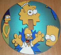 THE SIMPSONS Light Switch Cover 5 Inch Round (12.5 cms) Switch Plate Switchplate by Character Creations. $12.00. Beautifully finishes off any room. Large 5 inches (12.5 cms) Lightswitch Cover. The Simpsons Design. Hardboard with Beautiful Glossy Finish. NOT a Sticker.  Image is heat sealed into the switchplate, therefore is completely washable.. This is a fantastic addition to any bedroom or recroom and is made from hardboard, with a glossy front.  This item is m...