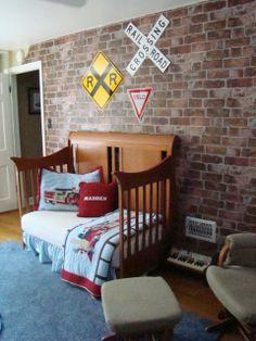 train bedroom decor master maddens room i design a vintage train station room for - Brick Kids Room Decor