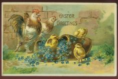 Antique Easter postcard - chick family and wooden shoe, circa 1910.