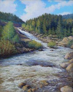 Cascading Falls by Kathleen Kalinowski Pastel ~ 30 x 24