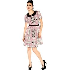 See this and similar Folter day dresses - G is for this ghastly Ghoul Gallery dress from Folter! This vintage inspired, mauve dress features an Edward Gorey ins...