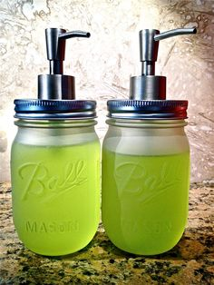 love these frosted mason jar hand soap dispensers