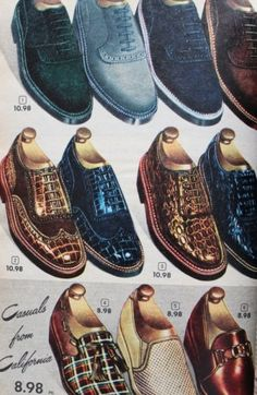 1952 men's textured Shoes- Blue Suede, reptile, wool plaid