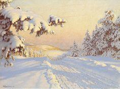 зимний пейзаж с желтым небом - Поиск в Google