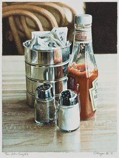 Tin with Sugars by Ralph Goings - Thomas Paul Fine Art.  Watercolour on paper.