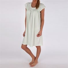 Miss Elaine Silkyknit Nightgown  with Smocked Neckline